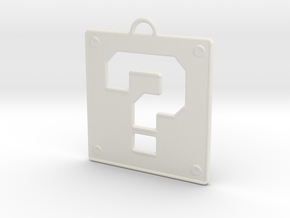 Mario Question Block Pendant in White Natural Versatile Plastic