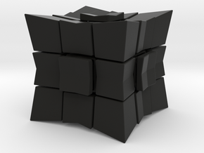 Cube inward 3*3*3 (with spider) in Black Natural Versatile Plastic: Medium