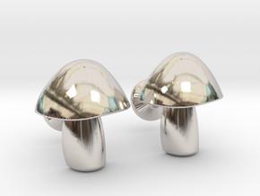 Mushroom Cufflinks in Platinum