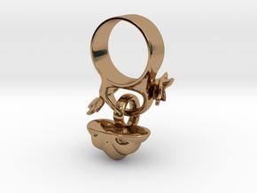 Fairytale Pumpkin Charm Ring in Polished Brass (Interlocking Parts): 5 / 49