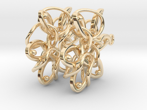 Knotted Hexagonal Earrings in 14k Gold Plated Brass