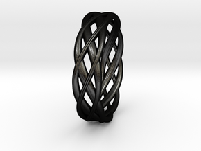 ring Double Braid in Matte Black Steel: 10.75 / 63.375