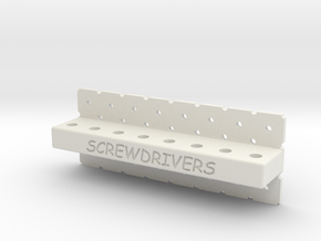 Peg Board Screwdriver Holder in White Strong & Flexible