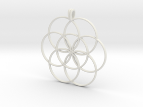 SEED OF LIFE Sacred Geometry Symbol Necklace in White Natural Versatile Plastic