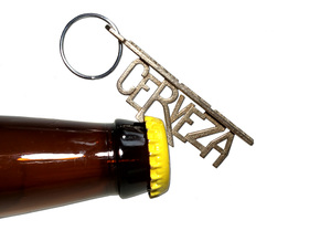 Cerveza Keychain Bottle Opener in Stainless Steel