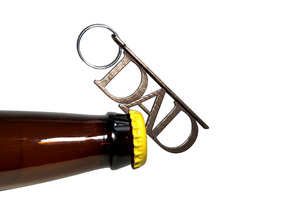 DAD Bottle Opener Keychain in Polished Bronze Steel