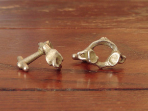 Atlas Vertebra (C1) Cufflinks in Polished Bronzed Silver Steel