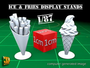 8 ICE & FRIES display stand (1:87) in Smooth Fine Detail Plastic
