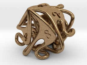 Curlicue 10-Sided Dice (alternate) in Raw Brass