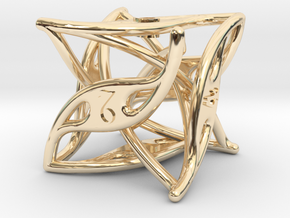 Curlicue 6-Sided Dice in 14k Gold Plated Brass