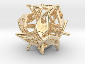 Curlicue 12-Sided Dice in 14k Gold Plated Brass