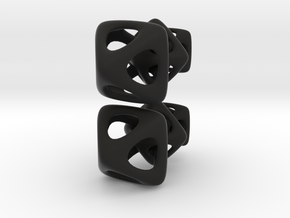 Three linked octohedrons  in Black Natural Versatile Plastic
