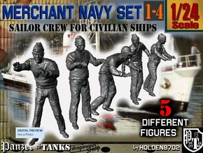 1-24 Merchant Navy Crew Set 1-4 in White Natural Versatile Plastic