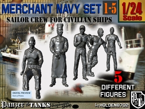 1-24 Merchant Navy Crew Set 1-5 in White Natural Versatile Plastic