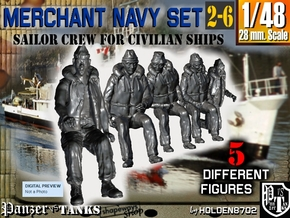 1-48 Merchant Navy Crew Set 2-6 in Smooth Fine Detail Plastic