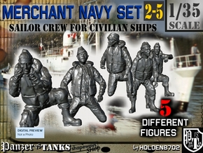 1-35 Merchant Navy Crew Set 2-5 in Smooth Fine Detail Plastic