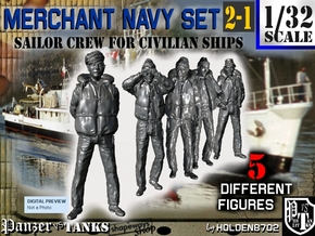 1/32 Merchant Navy Crew Set 2-1 in Smooth Fine Detail Plastic