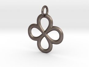 Dual Infinity Flower Pendant in Polished Bronzed Silver Steel