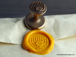 Menorah Wax Seal in Polished Bronzed Silver Steel