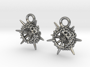 Spumellaria Earrings - Science Jewelry in Natural Silver