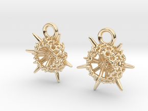 Spumellaria Earrings - Science Jewelry in 14K Yellow Gold