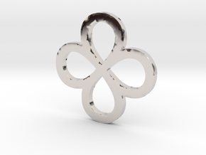 Dual Infinity Flower Coin in Rhodium Plated Brass