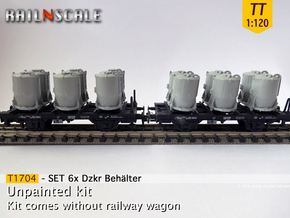 SET 6x Dzkr 501 Behälter (Tillig) (TT 1:120) in Smooth Fine Detail Plastic