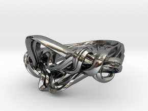 Weaving Ribbons Ring in Fine Detail Polished Silver: 5 / 49