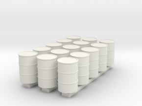 'HO Scale' - (15) 55 Gallon Drums in White Natural Versatile Plastic