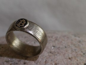Bitcoin Ring (BTC) - Size 10.0 (U.S. 19.76mm dia) in Polished Bronzed Silver Steel