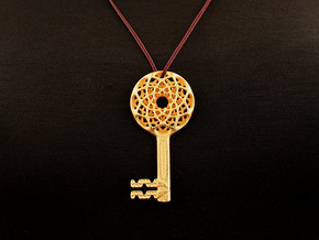 Syil Key Pendant (#2421) in Polished Gold Steel