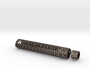 12 inch M4 Keymod/weaver RAIL unit in Polished Bronzed Silver Steel