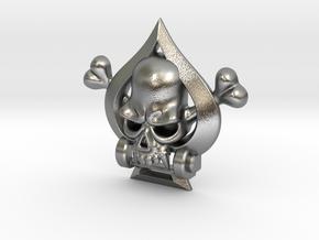 Spade Skull in Natural Silver