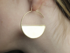 Geometric Large Hoops Earrings in 14k Gold Plated Brass