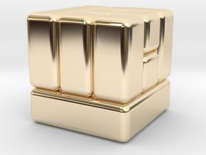 D6 Block Dice in 14K Yellow Gold
