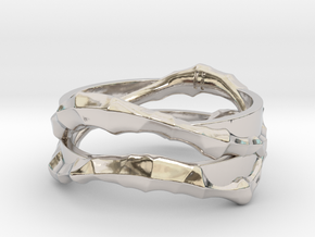 Full Dual Voronoi Ring in Rhodium Plated Brass: 5 / 49