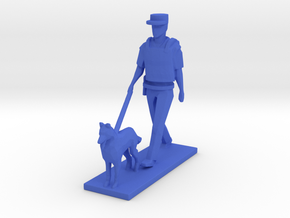 Police Walking with Dog K-9 (Summer in Paris) in Blue Processed Versatile Plastic: 1:64