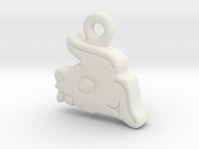 Aztec Rabbit Pendant in White Natural Versatile Plastic