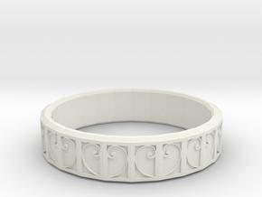 Fractal Curve Ring 18mm in White Natural Versatile Plastic