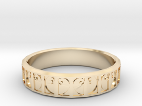 Fractal Curve Ring 22mm in 14K Yellow Gold