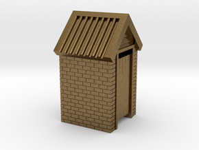 N Scale Brick Outdoor Toilet Dunny 1:160 in Raw Bronze