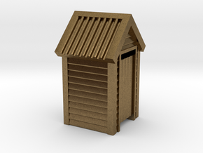 N Scale Wooden Outdoor Toilet Dunny 1:160 in Natural Bronze