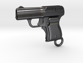 Schwarzlose Gun 1909 Keychain in Polished Grey Steel