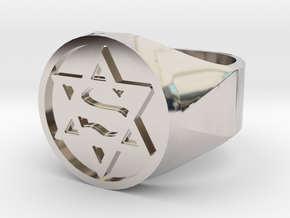 Ring US 12 Super Jew Signet  in Rhodium Plated Brass