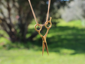 Hairdresser Scissors Pendant in Polished Brass