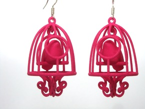 Bird in a Cage Earrings 03 in White Natural Versatile Plastic