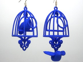 Bird in a Cage Earrings 04 in White Strong & Flexible