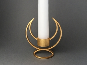 Solstice Candle Holder in Polished Gold Steel