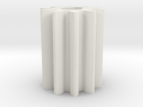 Cylindrical gear Mn=1 Z=10 - Alfa=20° Beta=0° b=15 in White Natural Versatile Plastic