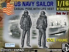 1-16 US Navy Sailor Lifevest Hands-Pockets in White Natural Versatile Plastic
